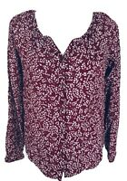 Faded Glory Women's Small Blouse Red Floral Long Sleeves Button Down V Neck