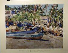 FINE ART LITHOGRAPH: Yelapa Boats By Malloy Flato.  26x 32 Stunning Colors