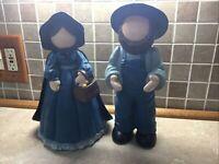 "Vintage 2 pc Ceramic Faceless Amish Couple 12"" Tall  Handmade Figures beautiful"