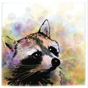 Large Ceramic Tile 6x6 Raccoon 23 from digital art painting by L.Dumas