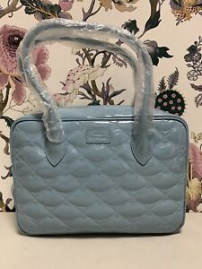 Lulu Guinness Light Blue Quilted Lips BG (H-4)