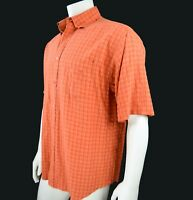 Bugatchi Uomo Men's Casual Shirt Button Down Orange Gold Black Plaid L  Korea