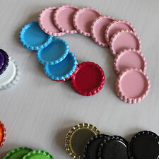 "100 Two Sided Painted  1"" Standard Mix Flat Bottle Caps Colorful Set D8Y"