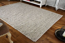 GREY PLAIN Modern Handwoven Cream HEAVY & CHUNKY Wool Dhurrie Rug S-L 30%OFF