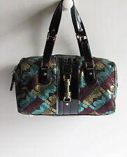 L.A.M.B. Gwen Stefani Rare Black Rock Metallic Multi-Tone Satchel Handbag EC