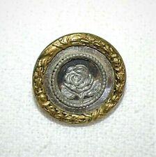 3696~Vintage Brass Cut Steel ROSE Flower 17mm Shank Button**