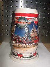 """2001 """"Holiday at the Capitol"""" Budweiser Ceramic Stein, 6-3/4"""" Tall, Clydesdale"""