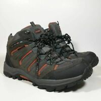 Khombu Mens Terrain Hiking Trail Ankle Boots Black Red Leather Lace Up 10 M