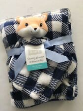 Hudson Baby Boy Fox Security Blanket Set Layette Plaid Navy Blue White