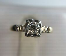 Vintage Antique 14k Yellow Gold Round Old European Diamond Engagement Ring 1/4