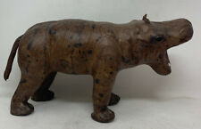 Large Vintage Hippo Safari Animal Paper Mache & Leather Made in India