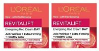 2 x L'oreal Revitalift Energising Red Day Cream Anti-Wrinkle + Firming (2x50ml)