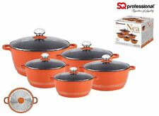 SQ Pro Nea Induction Orange 5pc NonStick Ceramic Aluminium Die-Cast Casserol