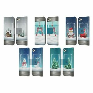 HEAD CASE CHRISTMAS IN JARS LEATHER BOOK WALLET CASE FOR APPLE iPOD TOUCH MP3