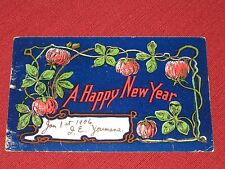 1905 A Happy New Year Postcard Blue Background/Glitter Posted VG
