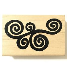 Rubber Stamp Swirly Curly Swirls Curls Abstract New Free Shipping Large Thick In