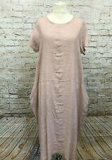 Puro Lino langes Leinen Maxi Kleid Übergröße Gr 44 46 48 Ballon Lagenlook  rosa