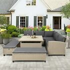 Us 6 Pcs Patio Furniture Set Outdoor Sectional Sofa W/table And Benches Garden