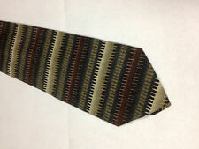 Mens Brown Black White SILK Tie Necktie BERGAMO~ FREE US SHIP (11792)