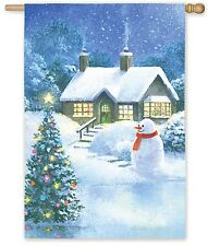 """Cozy Winters Night Christmas Tree Snowman Country Cabin 29x43"""" Large Banner Flag"""
