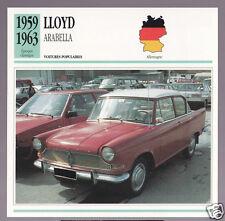 1959-1963 Lloyd Arabella Car Photo Spec Sheet Info French Card 1960 1961 1962
