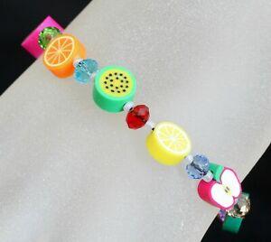 4#DIY Fimo Fruit & Swarovski Colourful Crystal Bracelet (18cm).