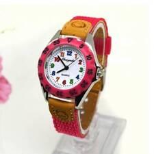 Quartz Watch Kids Children's Fabric Strap Student Watches Wristwatch Gifts Rose Red