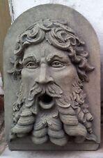 Bacchus Neptun Kopf Relief Wasserspeier Sandstein Antik Look Steinguß E 17 GRAU