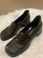 Prada Brown Penny Loafers 36 6US Leather Classic Block Heel