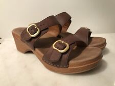 DANSKO SOPHIE WOMENS BROWN LEATHER SLIDES SANDALS SHOES 11