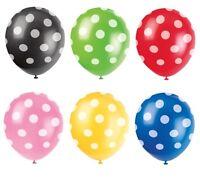 "6 Polka Dots Spots Spotty 12"" LATEX BALLOONS Birthday Party Decorations Supplies"
