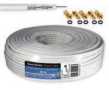 50 m SAT Kabel Koaxialkabel 120 dB Antennenkabel 4-fach geschirmt + 5 F-Stecker