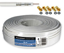 50m SAT cable Cable coaxial 120db Antena 4x Blindado + 5 conector F