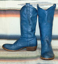 Womens Vintage Frye Blue Deerskin / Leather Cowboy Boots 9 B Very Good Condition