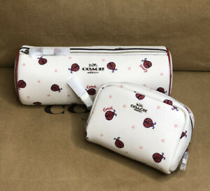 Coach Makeup Brush Holder Bag and Mini Makeup bag  with ladybug printed allover