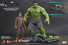 Hot Toys MMS230 1/6 Avengers Hulk & Bruce Banner Set Exclusive Loki Sceptre MISB