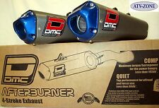 DMC Twin Dual Afterburner Complete Exhaust Raptor 700 06-14 Blue End Caps
