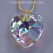 m/w Swarovski Large Aurora Heart 28mm Pendant with GP Chain Lilli Heart Designs