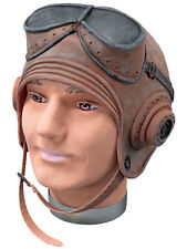 1940 Ww2 Raf Fighter Piloto de Biggles Latex Casco Fancy Dress Accesorio Nuevo