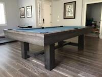 Custom Rustic Pool Table with Gauntlet Grey Finish - Reclaimed Wood Look