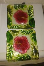 "Fused glass Red Hibiscus 6"" plates (x2)"