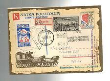 1959 Poznan Poland to USA Balloon Express Cover with Cinderella