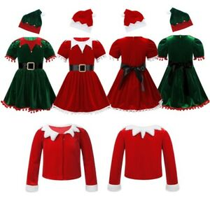 Toddler Kids Girls Christmas Santa Costumes Xmas Cosplay Outfit Fancy Dress Set
