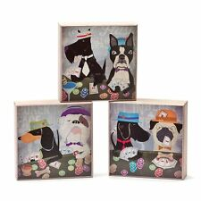 """UNIQUE WALL ART DOGS ROCK POKER PARTY 3PCS 6""""x6""""x2"""" WOOD BOXES DEMDACO 2014 NEW"""