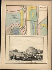 Bellows Falls village of Windsor Vermont 1861 Milburne Peak view print & map