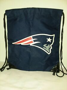 """NFL New England Patriots 16""""x14"""" Blue LARGE LOGO Drawstring Backpack/Gym Bag 🏈"""