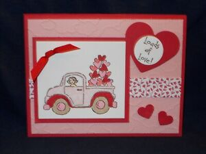 Truck With Hearts Valentine's Day Card Kit made with Stampin Up supplies set of