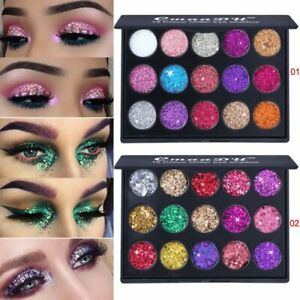 15 Color Glitter Eye Shadow Palette Lasting Metallic Pigment Make Up Eyeshadow