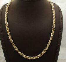 """20"""" 6mm Diamond Cut Interlocked Double Rolo Chain Necklace Real 14K Yellow Gold"""