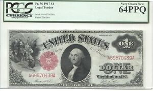 LARGE SIZE UNITED STATES NOTE FR 36 1917  $1 PCGS 64PPQ
